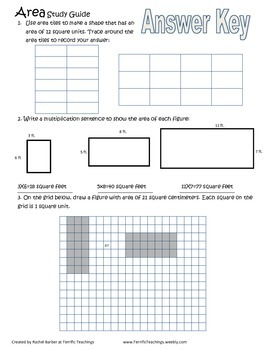 Area Practice Worksheets 3.MD.5a; 3.MD.5b