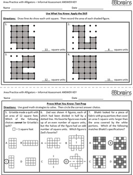 Area Practice with Alligators - Matching Game (CCSS)