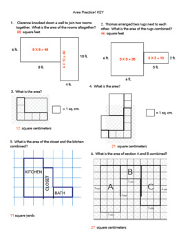 Area Practice with Various Problems