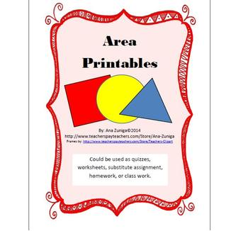 Area Printables: Use as quizzes, substitute work, extra practice, etc.