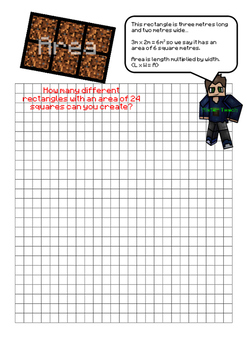 Area Problem (Minecraft Maths)