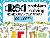 Area Problem Solving Progressive Task Cards (TEKS 5.4H) with QR CODES