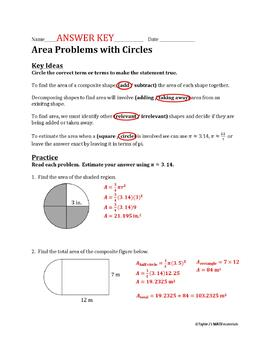 Area Problems with Circles Worksheet