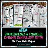 Area: Quadrilaterals and Triangles No Prep Note Pages