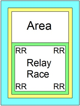 AREA: RELAY RACE GAME (14 ROUNDS OF 4 PROBLEMS PER PAGE)