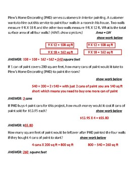 Area, Real World Application, Decimals, Division, Word Problems