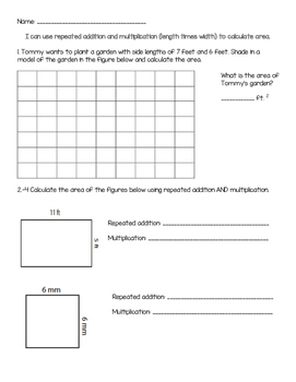 3.MD.C.5 Area Repeated Addition & Multiplication Practice