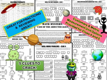 3rd Grade Area Review Math Mystery: Area of rectangles, squares, word problems