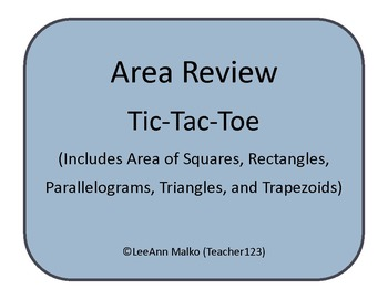 Area Review Tic-Tac-Toe