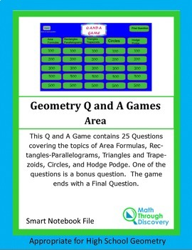Geometry: Smartboard Q and A Game - Area
