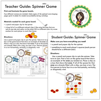 Area Printable Math Spinner Games