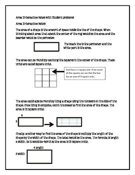 Area Student Notes and Practice Problems