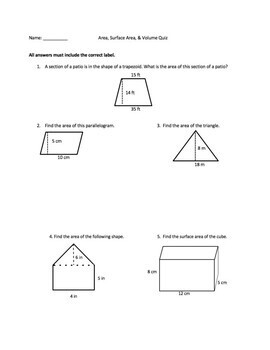 Area, Surface Area, Volume Assessment & Answer Key