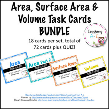 Area, Surface Area & Volume Task Cards Bundle