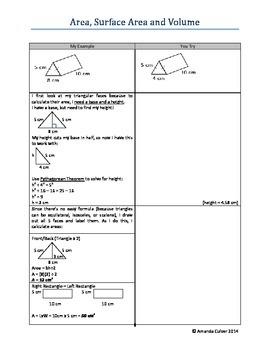 Area, Surface Area, Volume Workbook