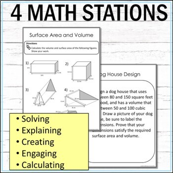 Area Surface Area and Volume Math Stations  :  Middle School Math Stations