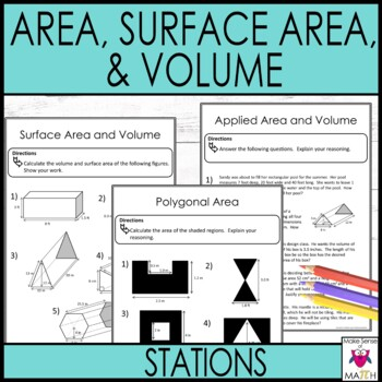Area Surface Area and Volume Math Stations