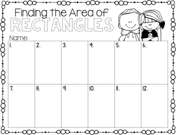 Area of Rectangles Task Cards for Centers, Review, Scoot, & Test Prep