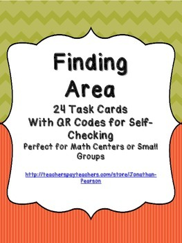 Area Task Cards - 24 Task Cards with QR Codes for Self-Checking