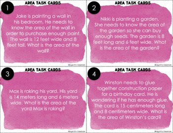 Area Task Cards: Word Problems