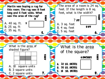 Area Task Cards 3rd Grade