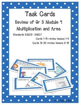 Area Task Cards Grade 3 NYS Module 4 Bundle