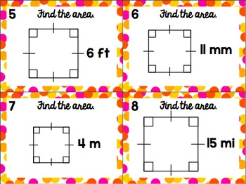 Area Task Cards - Squares & Rectangles