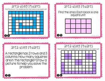 Area Using Unit Squares Task Cards for 3rd Grade