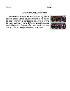 Area & Volume Assessment or worksheet