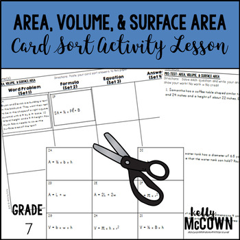 Area, Volume, & Surface Area Card Sort Activity Lesson
