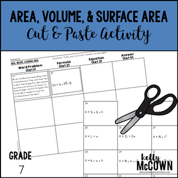 Area, Volume, & Surface Area Cut & Paste Activity