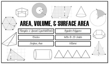 Area, Volume & Surface Area Notes Pack