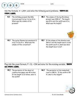 Volume & Perimeter Formula Worksheet