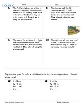 Area & Volume Worksheet