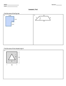 Area, Volume and Surface Area Assessment