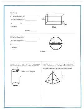 Area, Volume and Surface Area Notes