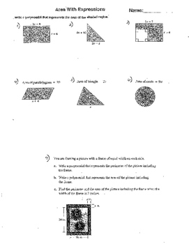 Area & Volume w Expressions Quadratic Functions Equation 3 Worksheets Polynomial