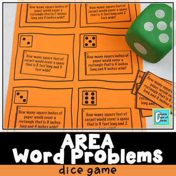 Area Word Problems Roll & Play Dice Game