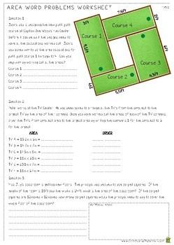 Area Word Problems Worksheet - Measurement (4.MD.3)
