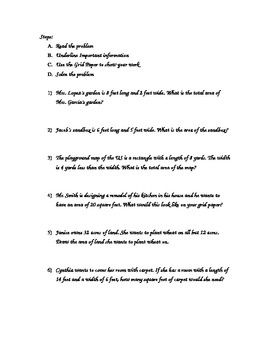 Area Word Problems for 3rd and 4th grade