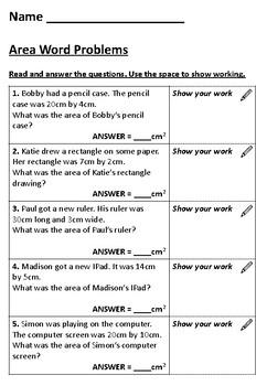 Area Worksheets