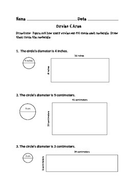 Area Worksheets: Finding the Area of Rectangles by Using Circles