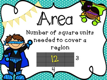Area anchor chart and Task cards (Super hero theme)