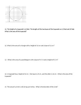 Area and Circles Quiz