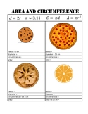 Area and Circumference Practice Notes - Circles - Math TEKS 7.9B