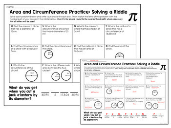 Pi Day Activity Riddle: Area and Circumference Practice