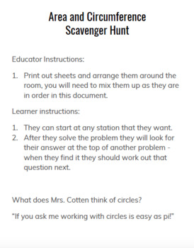 Area and Circumference Scavenger Hunt