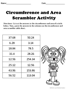 Area and Circumference of a Circle Puzzle Activity