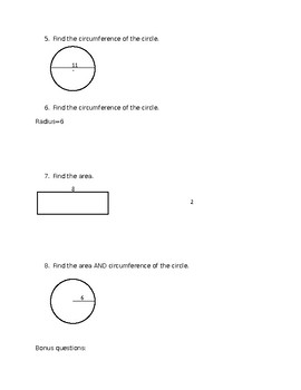 Area and Circumference Test