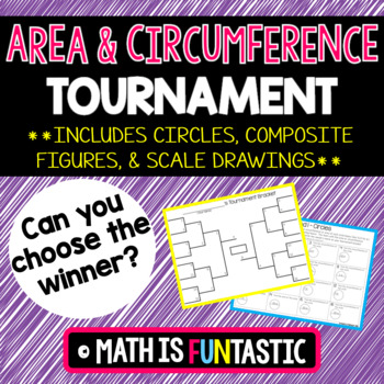Area and Circumference Tournament (circles, composite figures, shaded regions)